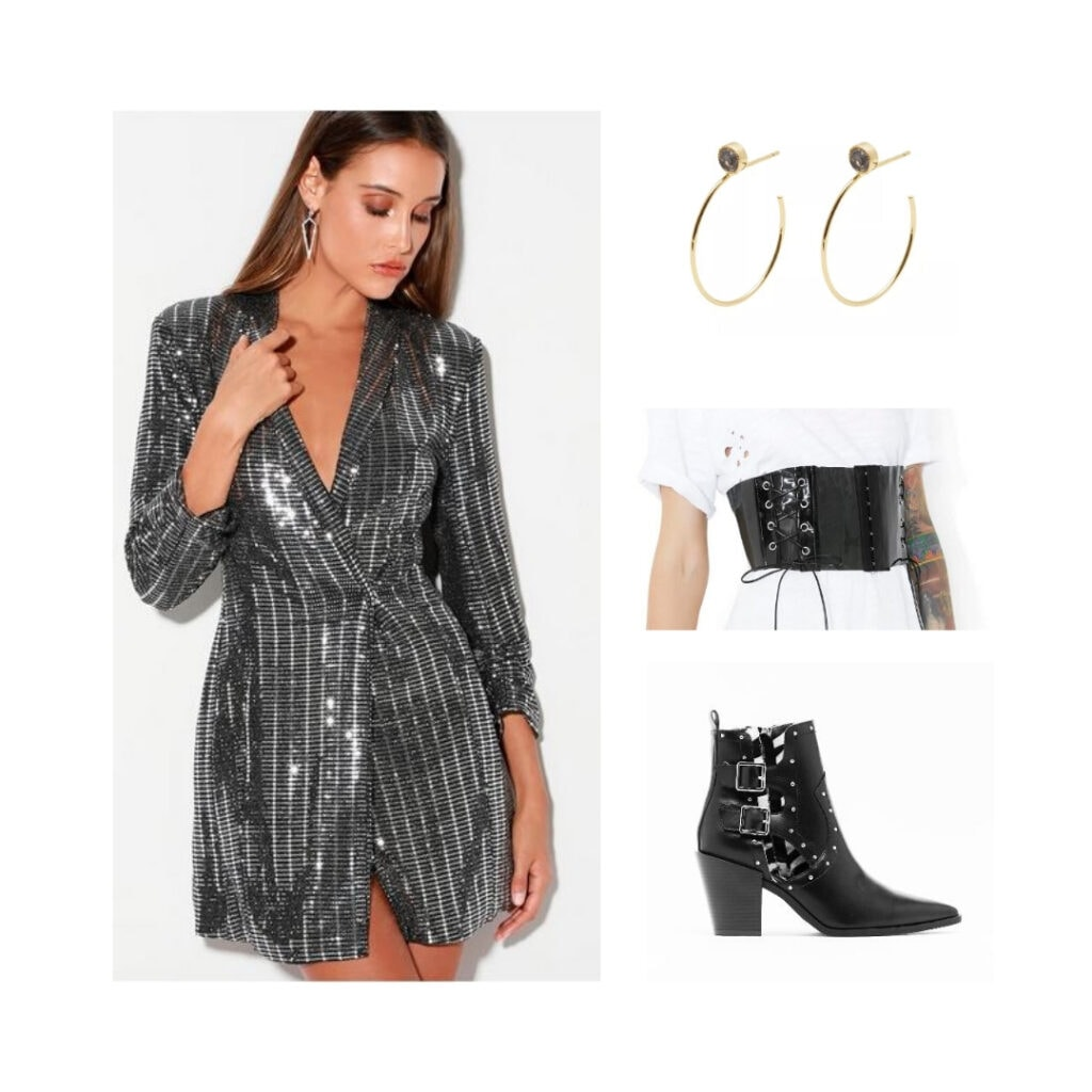 Outfit inspired by Six the Musical fashion and character Jane Seymour - Silver dress, gold hoop earrings, black belt, black boots.