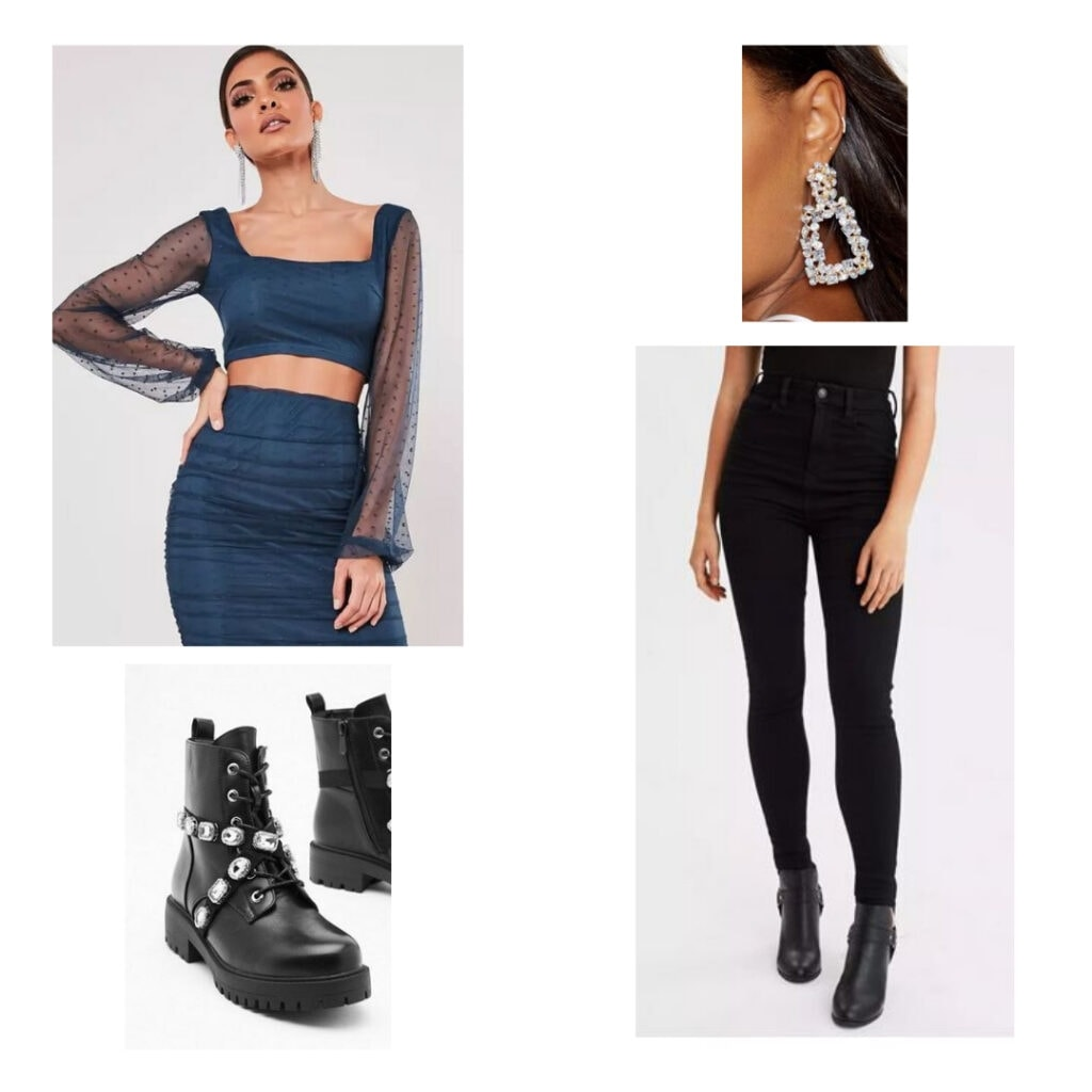 Outfit inspired by Six the Musical fashion and character Catherine Parr: Blue crop top, silver earrings, black boots, black jeans.