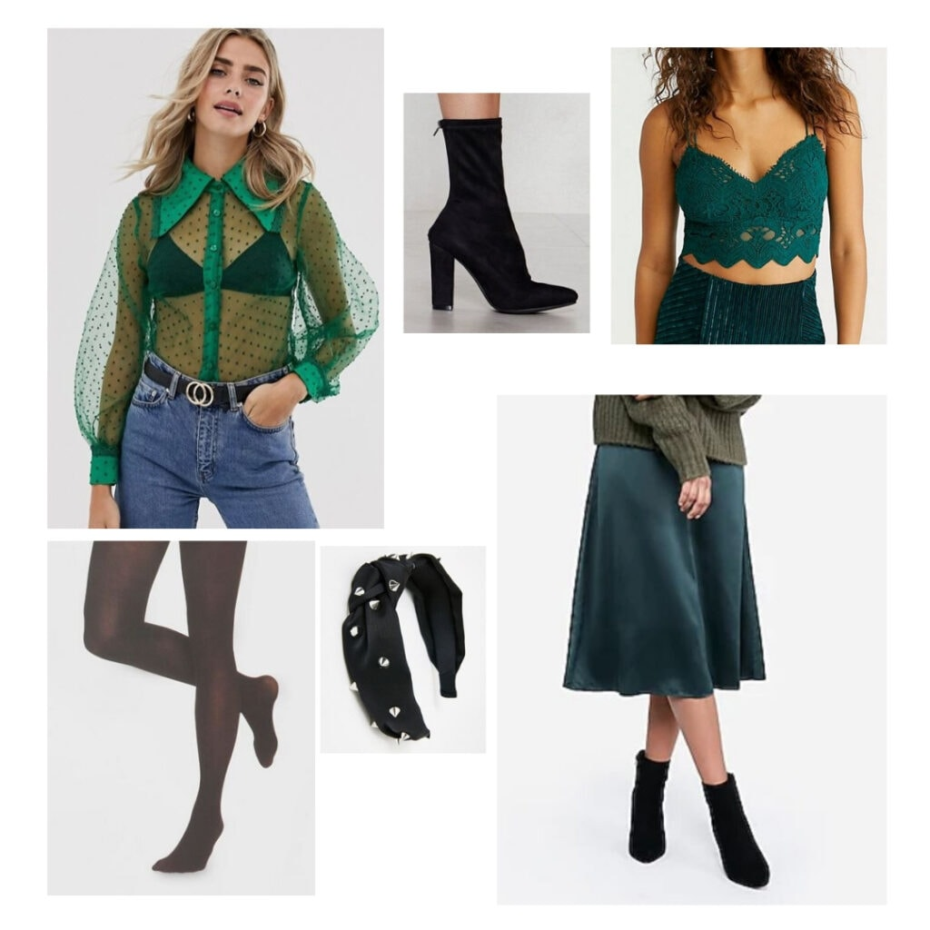 Outfit inspired by Six the Musical fashion and character Anne Boleyn - Green top, green bralette, green skirt, spike headband, black tights, black boots.