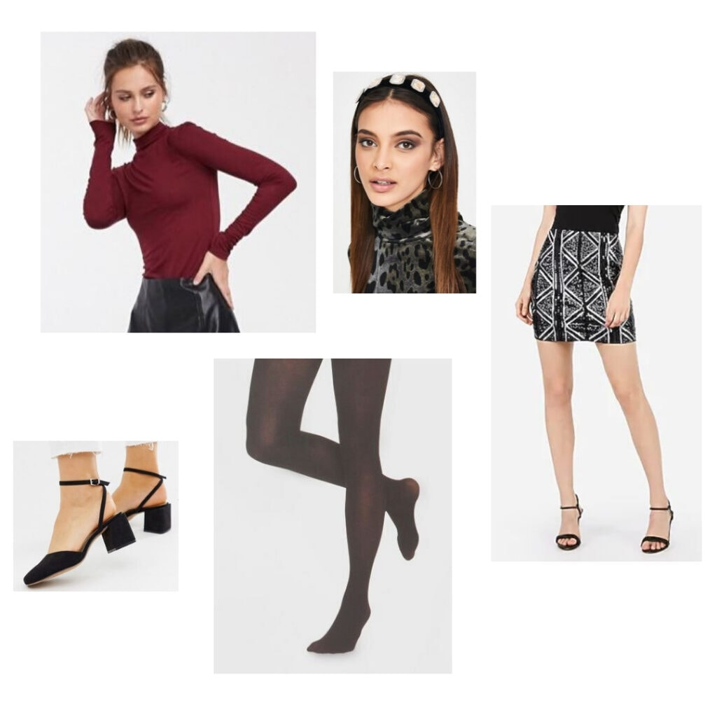 Outfit inspired by Six the Musical fashion and character Anne of Cleves - Red top, silver and black miniskirt, headband, black tights, and black block heels.