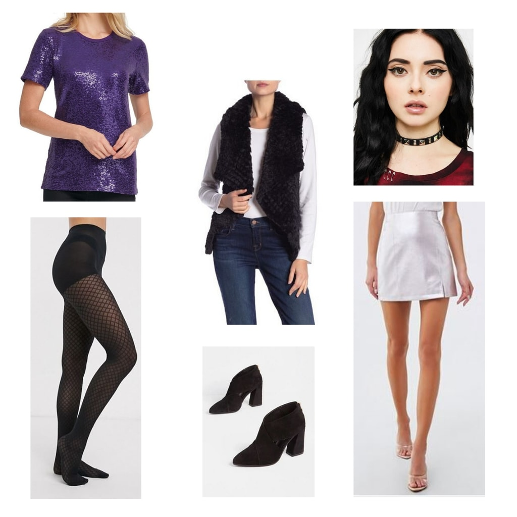 Outfit inspired by Six the Musical fashion and character Catherine Howard: Purple sequin top, silver miniskirt, black tights, black fur vest, choker, black boots.