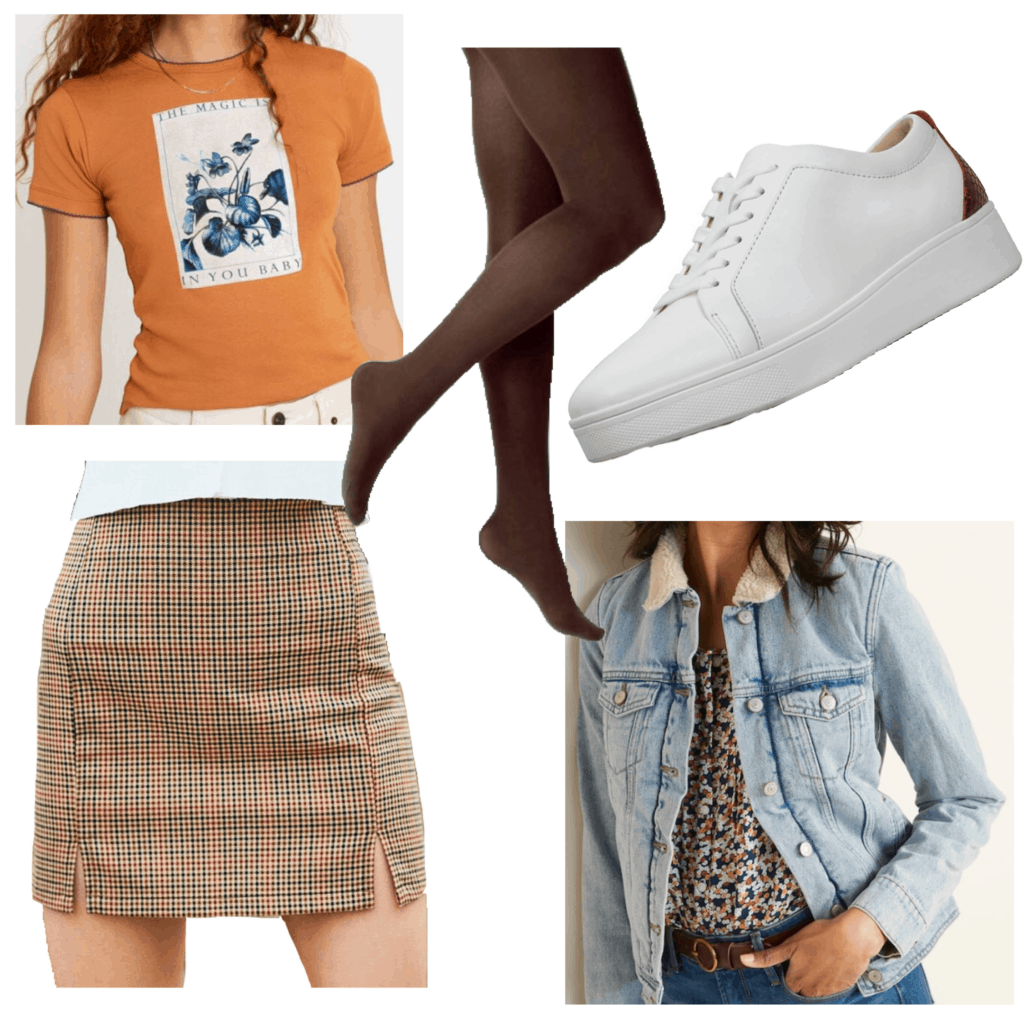 Winter Outfit with tights: Brown tights, burgundy and white sneakers, orange graphic tee, plaid skirt, denim jacket