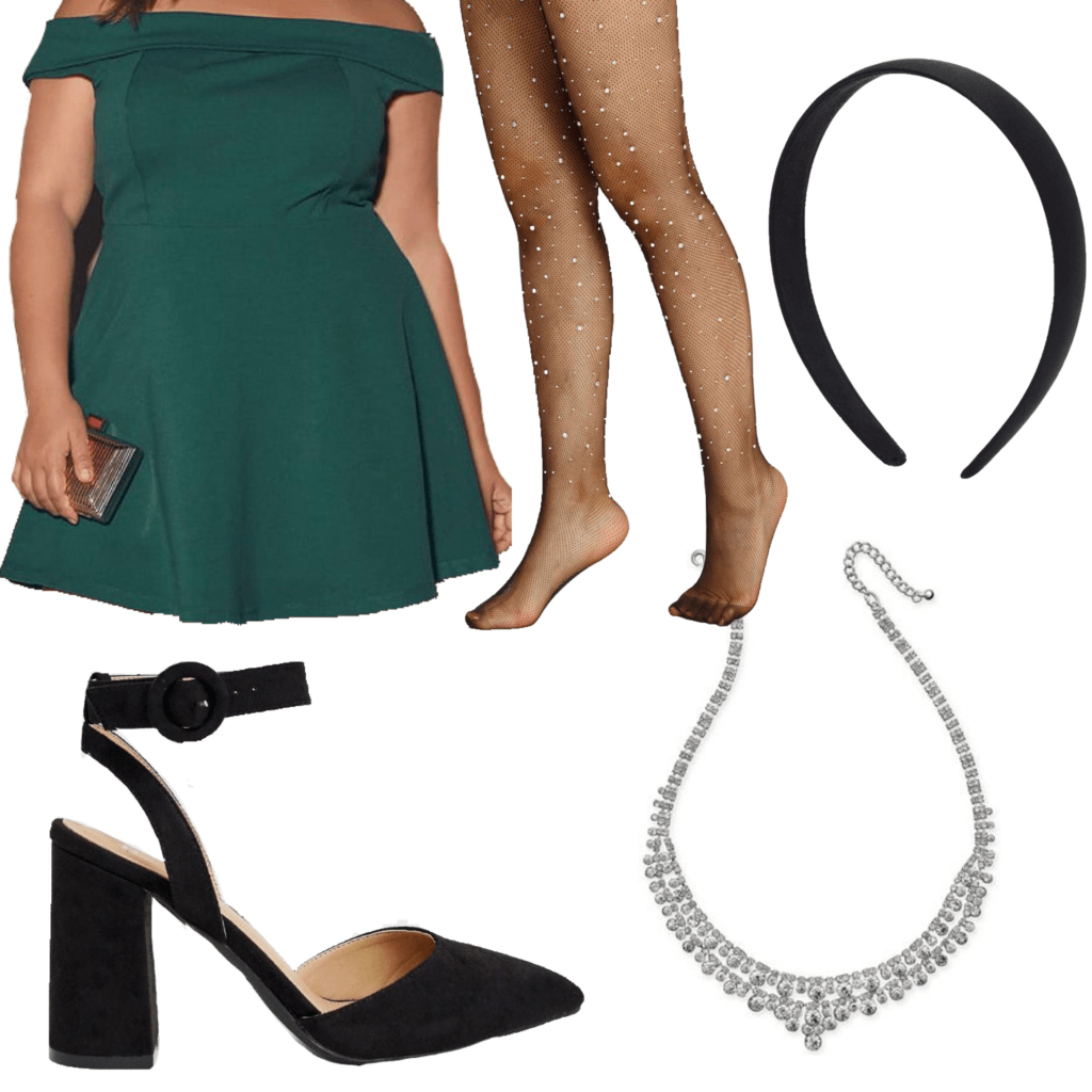 Outfit set with black embellished tights