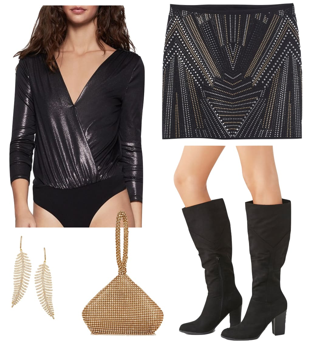 Victoria Justice Outfit: black and metallic studded embellished mini skirt, metallic surplice bodysuit, black tall boots, gold crystal drop feather earrings, and gold crystal embellished wristlet