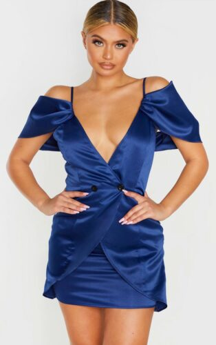 Off the shoulder dress for holiday party in blue