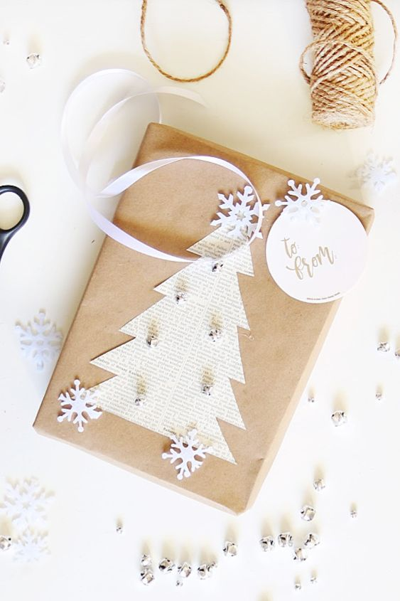 Gift wrapping ideas - book page Christmas tree on brown present