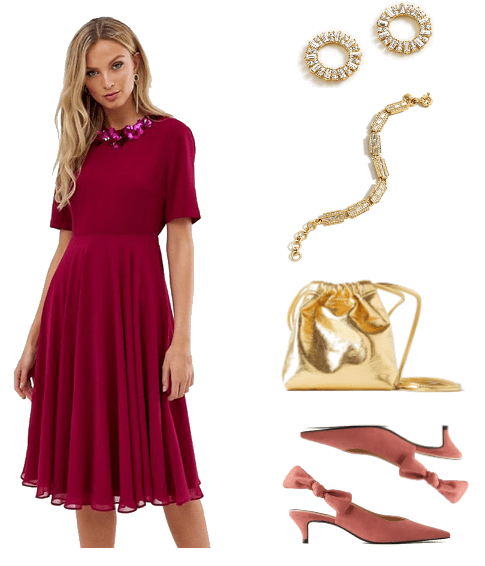New Years Outfits 2019 - Look 1: red burgundy midi-length dress, gold pave stud earrings, gold bracelet, gold bucket bag purse, and mauve kitten heels with bow