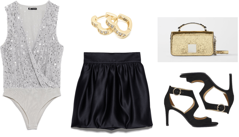 New Years Outfits 2019 - Look 2: silver sequin bodysuit, black satin mini skirt, gold pave heart earrings, strappy black heel sandals, gold purse