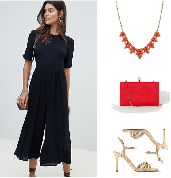 New Years Outfits 2019 - Look 3: black jumpsuit, red jeweled necklace, red purse, gold sandals