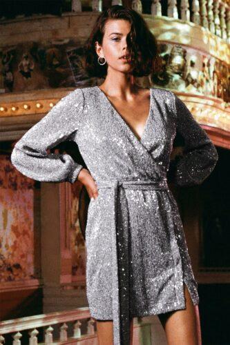 Silver wrap dress - 2020 fashion trends