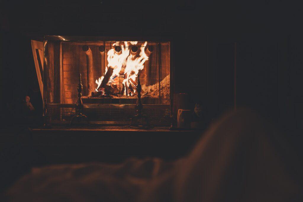 Winter break activities - sitting by a fire