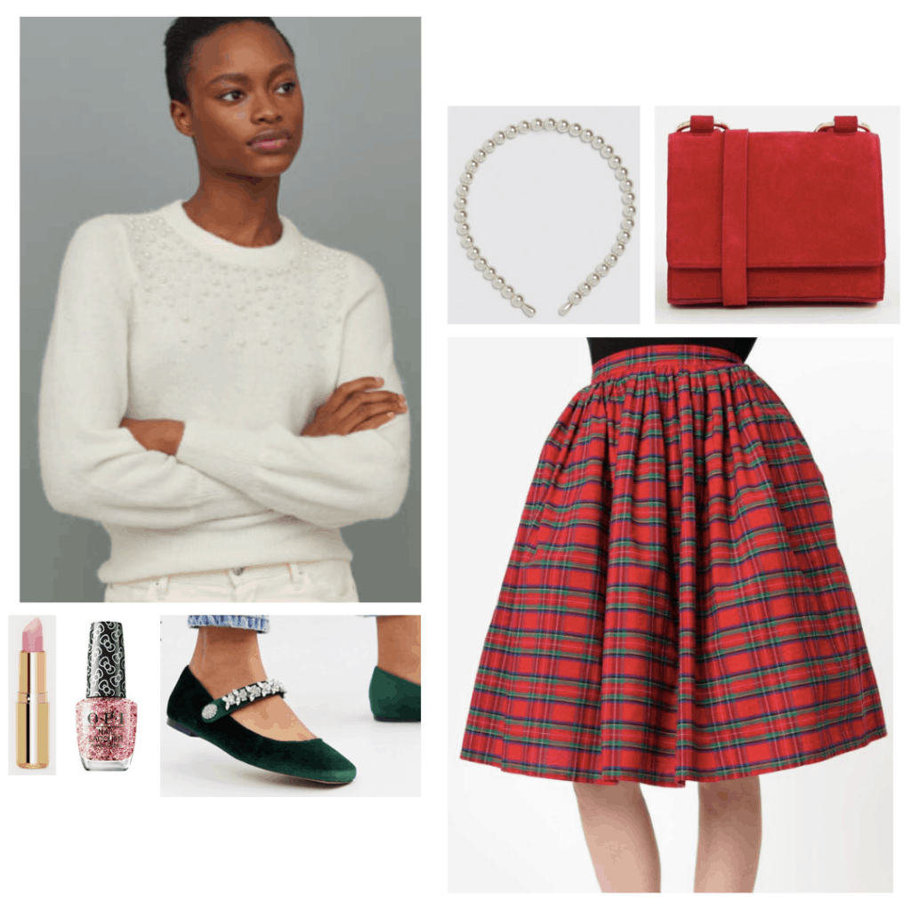 Outfit inspired by Cindy Lou Who from How the Grinch Stole Christmas - red plaid skirt, white sparkle sweater, red mini bag, pearl headband, green flats, nail polish and lipstick