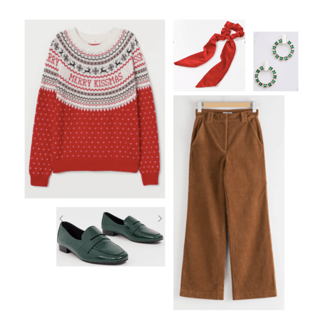 Tacky Christmas sweater outfit inspired by How the Grinch Stole Christmas - ugly sweater, khaki trousers, hair bow, earrings, green loafer flats