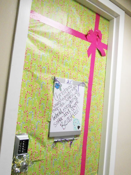 Dorm Christmas decorations - Door Covered in Wrapping Paper