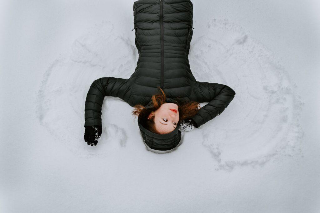 Winter break activities- making snow angels