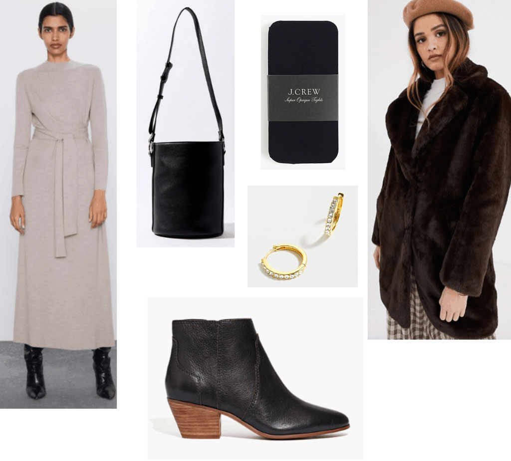 Outfit set for how to wear a maxi dress in winter -- features a long knit maxi dress, bucket bag, small boots and a fur coat.