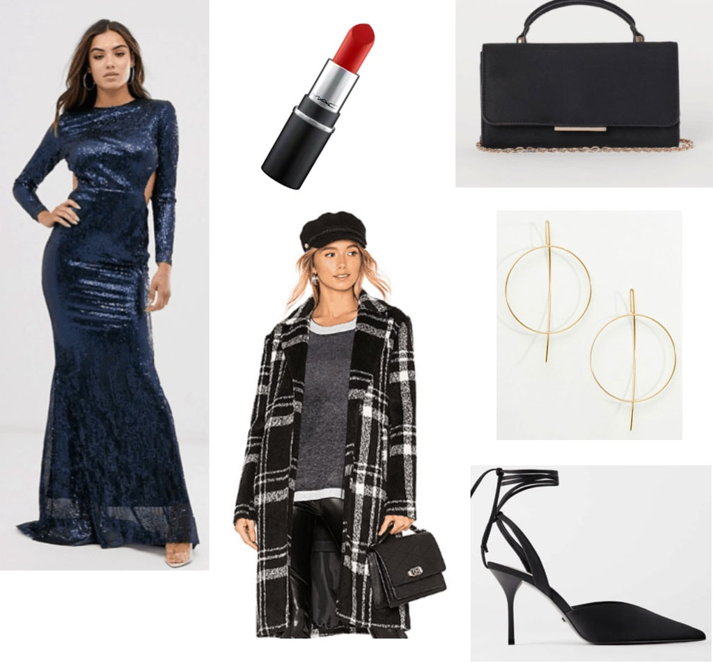 Maxi dress in winter outfit set with a sequin dress, plaid long coat, black heels and a black bag.
