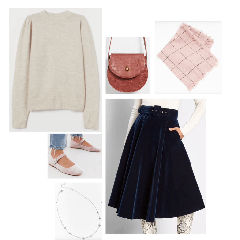 Little Women fashion: Outfit inspired by Meg with cream sweater, black skirt, pink scarf