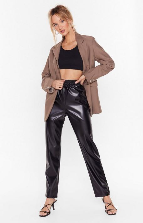 Pleather joggers, one of the hottest 2020 fashion trends