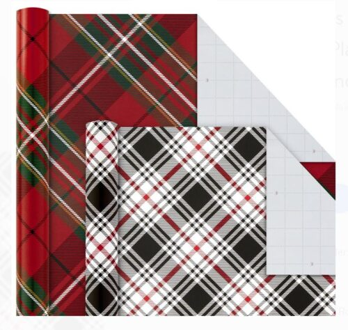 Plaid wrapping paper.