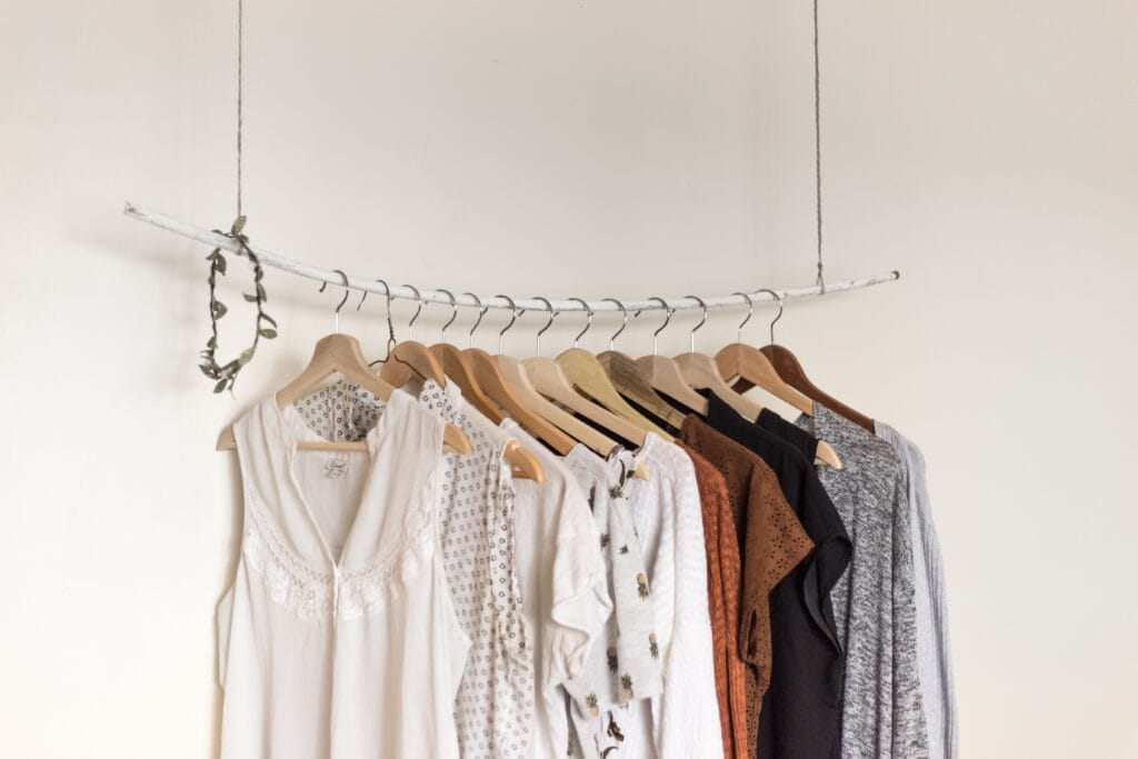 clothing rod with shirts