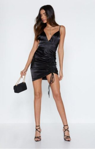 Black satin dress from Nasty Gal