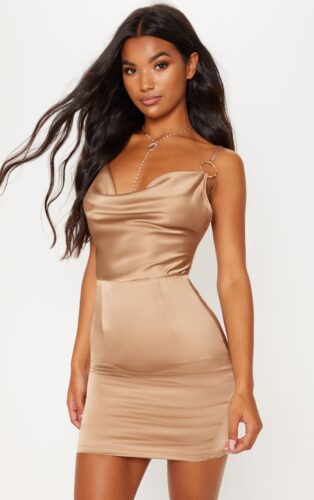 Holiday fashion trends - Satin dress in beige at PrettyLittleThing
