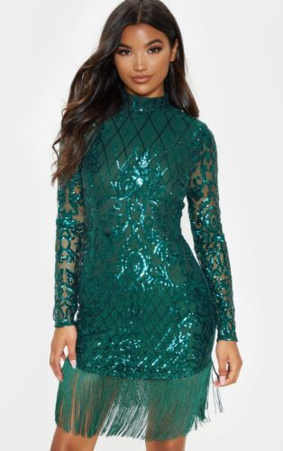 Green sequin holiday party dress