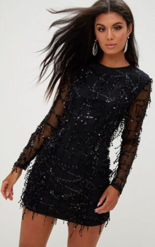 Black sequin dress for holiday parties
