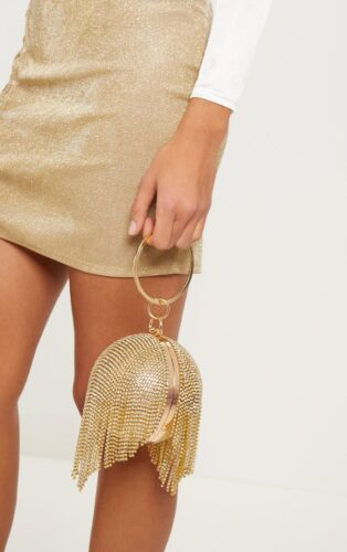 Gold tassel clutch from Prettylittlething