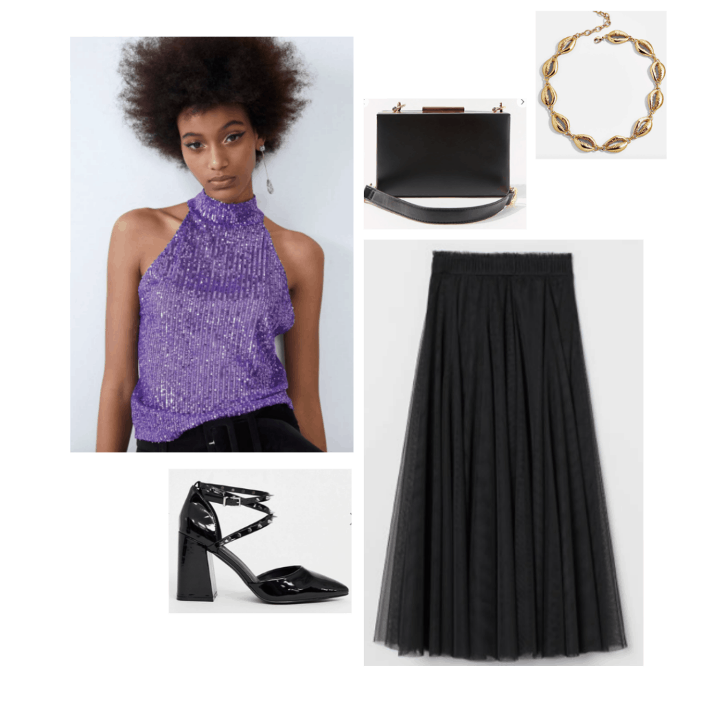 Ursula fashion - Disneybound outfit inspired by ursula from the little mermaid with purple sequin top, midi skirt, black heels