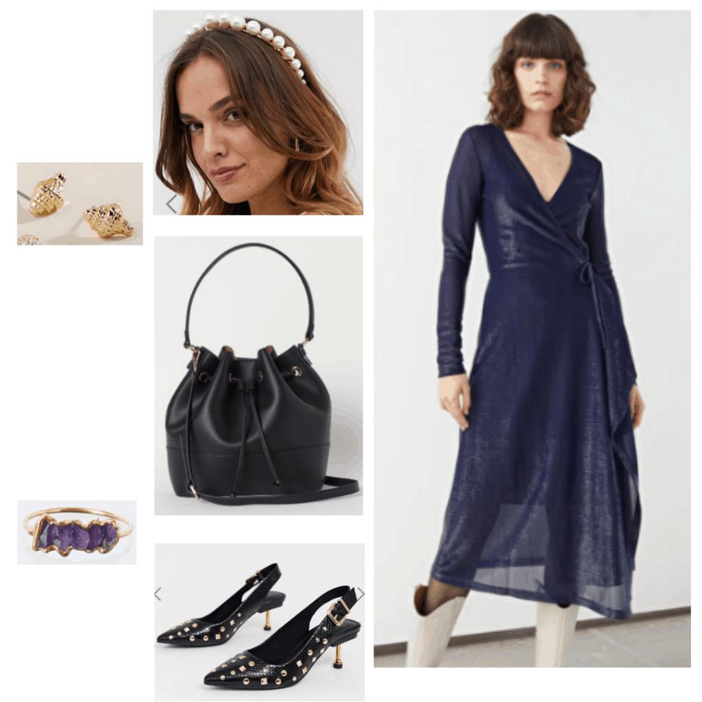 Ursula fashion - disneybound outfit with Black dress, pearl headband, black purse, black studded heels