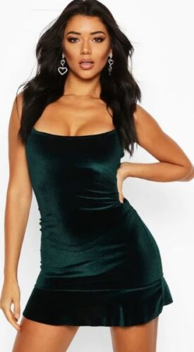 Green velvet dress from Boohoo