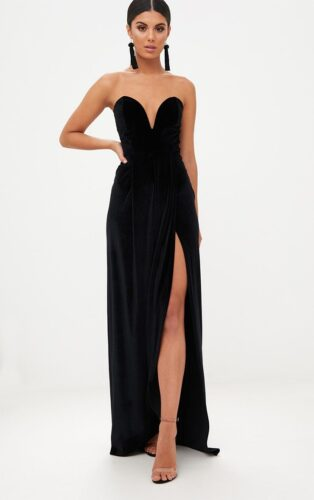 Black velvet strapless gown