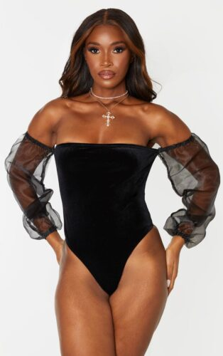 Holiday fashion trends - velvet, Off the shoulder bodysuit in velvet