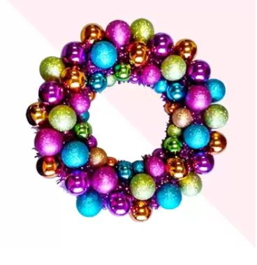 Colorful wreath made of ornaments.