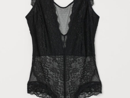 Product photo of a black bodysuit from H&M