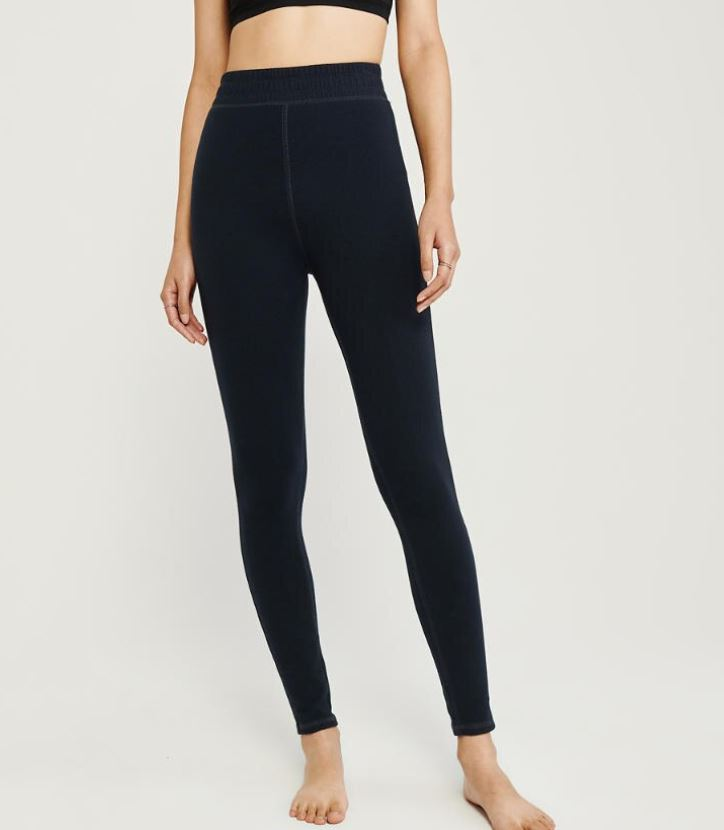 Black Fleece Lined Leggings at Abercrombie & Fitch