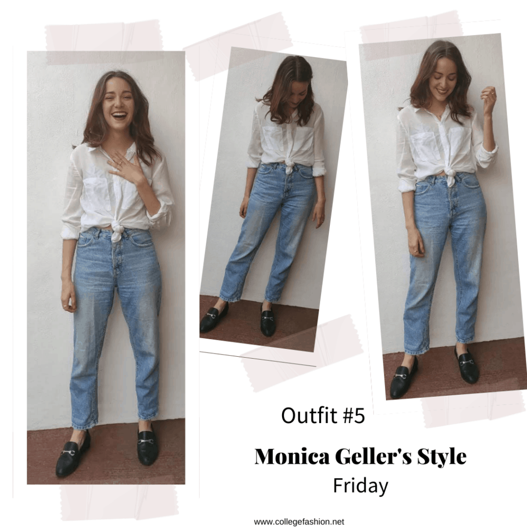 Monica Geller style: Outfit inspired by Monica Geller from Friends with white shirt, mom jean, loafers