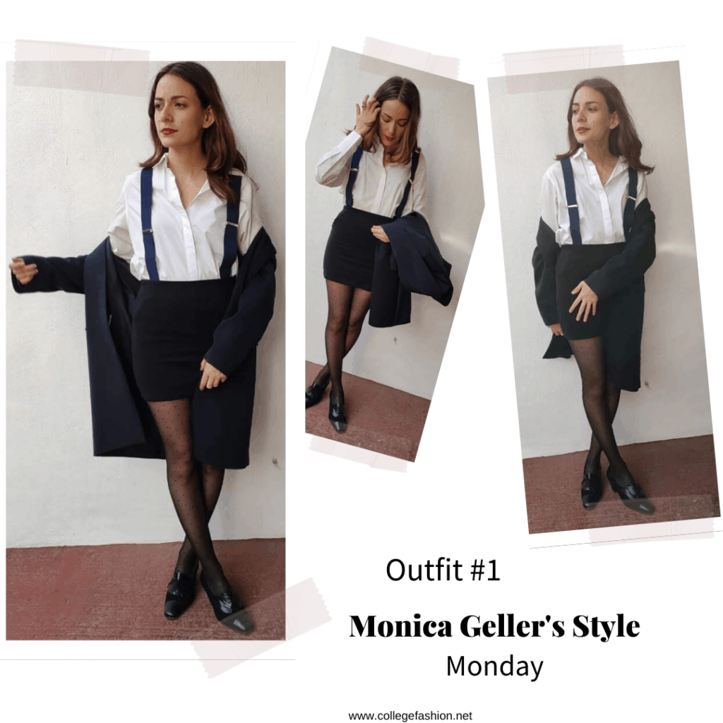 Monica Geller style: Outfit inspired by Monica Geller from Friends with black skirt, suspenders, and cardigan