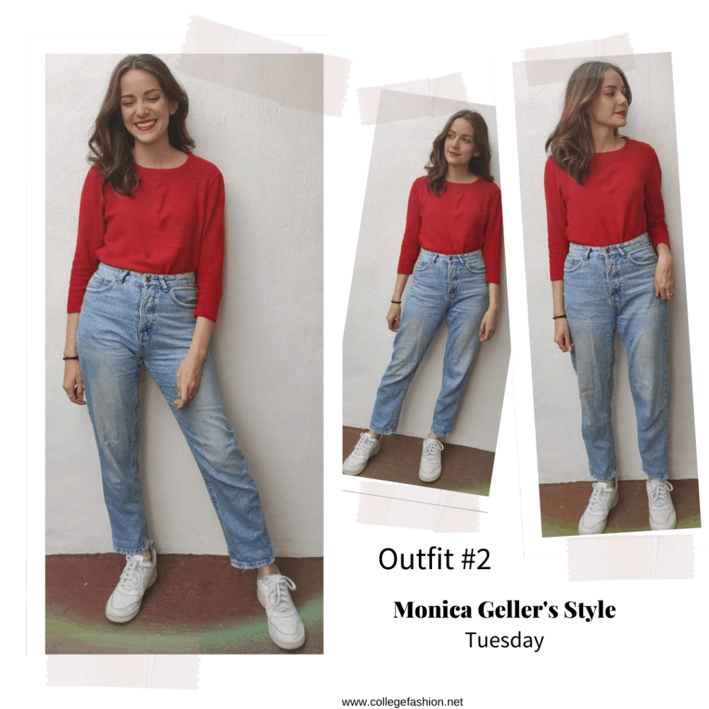 Monica Geller style: Outfit inspired by Monica Geller from Friends with red top, mom jeans, and sneakers