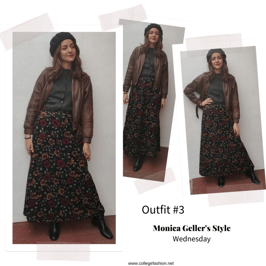Monica Geller style: Outfit inspired by Monica Geller from Friends with maxi skirt, leather jacket, beret, and gray top