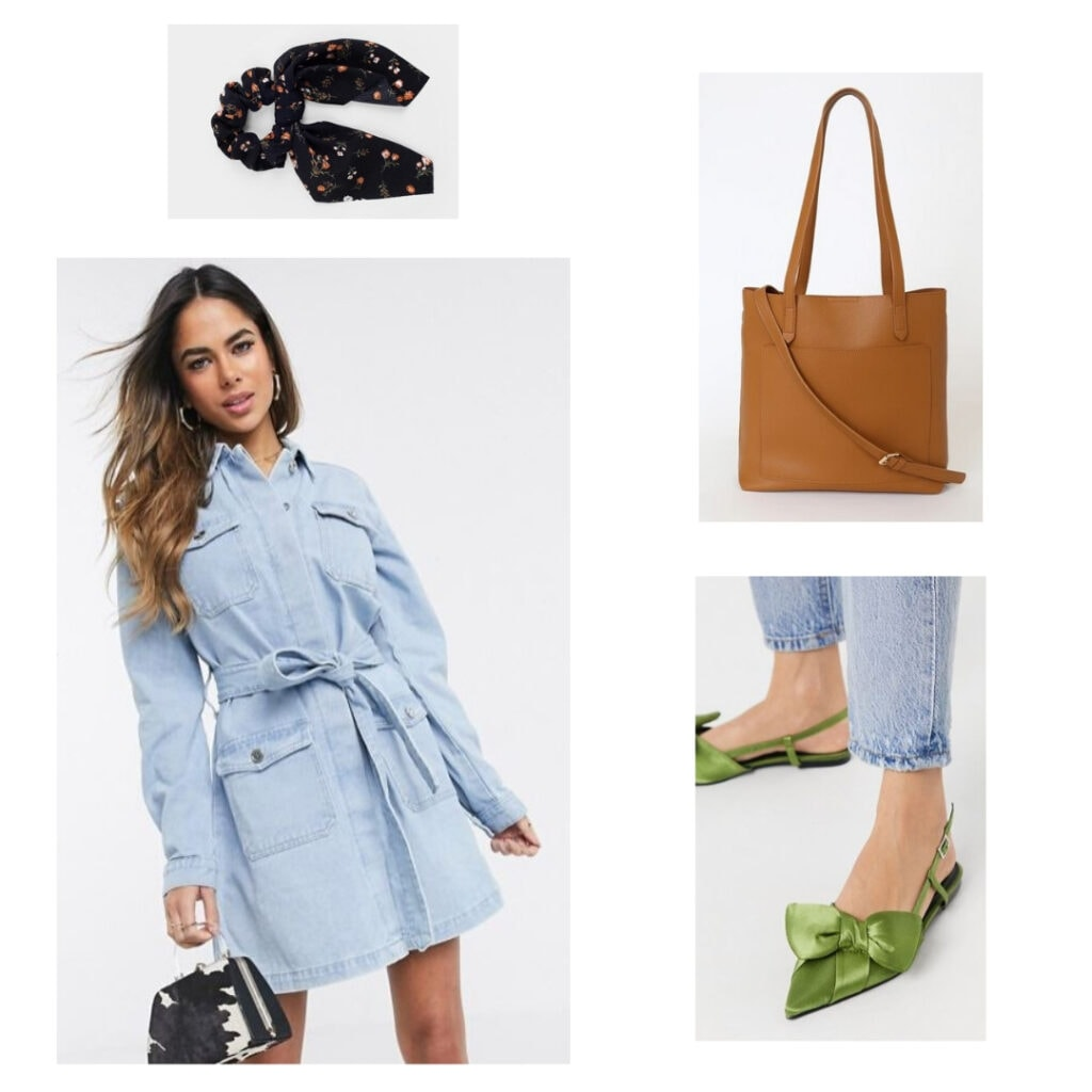 Denim dress, green shoes, hair tie, brown leather bag.