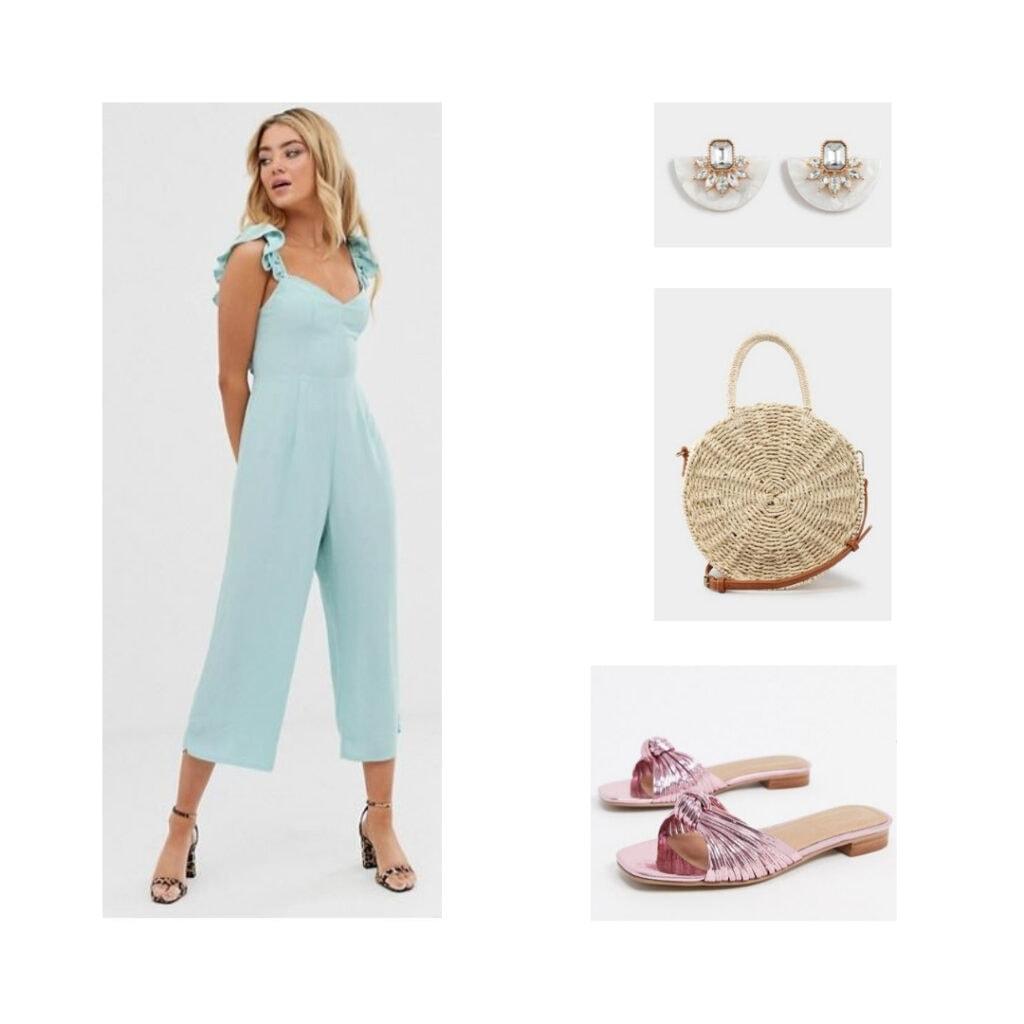 Slides, light blue jumpsuit, faux gem earrings, basket purse.