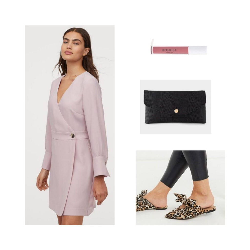 Light pink dress, slides, black clutch, pink lipstick.