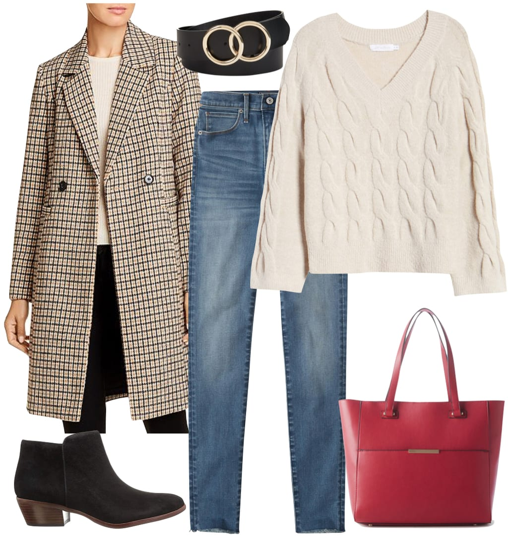 Sarah Hyland Outfit 1: long checked coat, cream v-neck cable knit sweater, skinny jeans, black and gold double circle belt, low black ankle booties, and a red tote bag