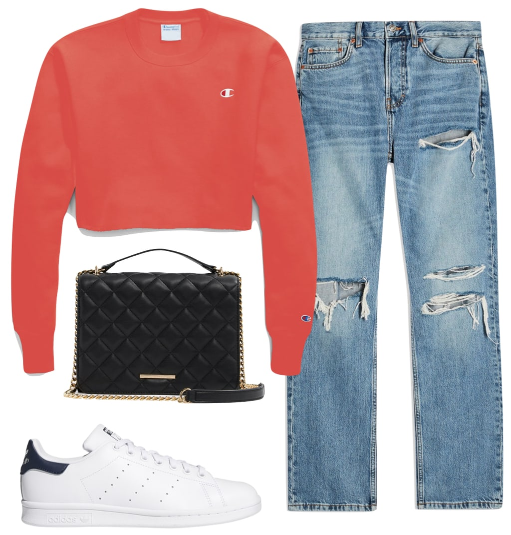 Sarah Hyland Outfit 2: cropped red sweatshirt, ripped high rise straight leg jeans, black quilted handbag, and white Adidas Stan Smith low top sneakers