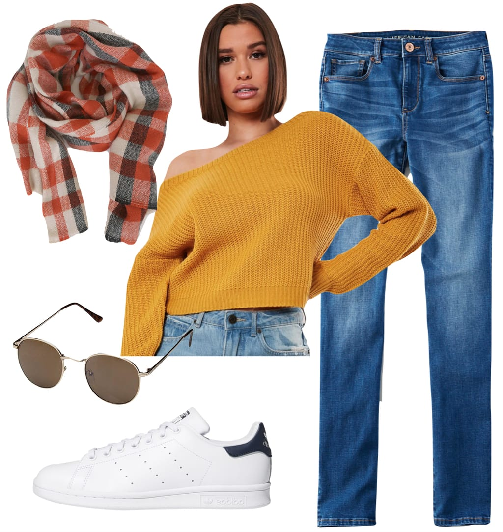 Sarah Hyland Outfit 3: yellow cropped off the shoulder sweater, skinny jeans, white Adidas Stan Smith low top sneakers, round sunglasses, and a red plaid scarf