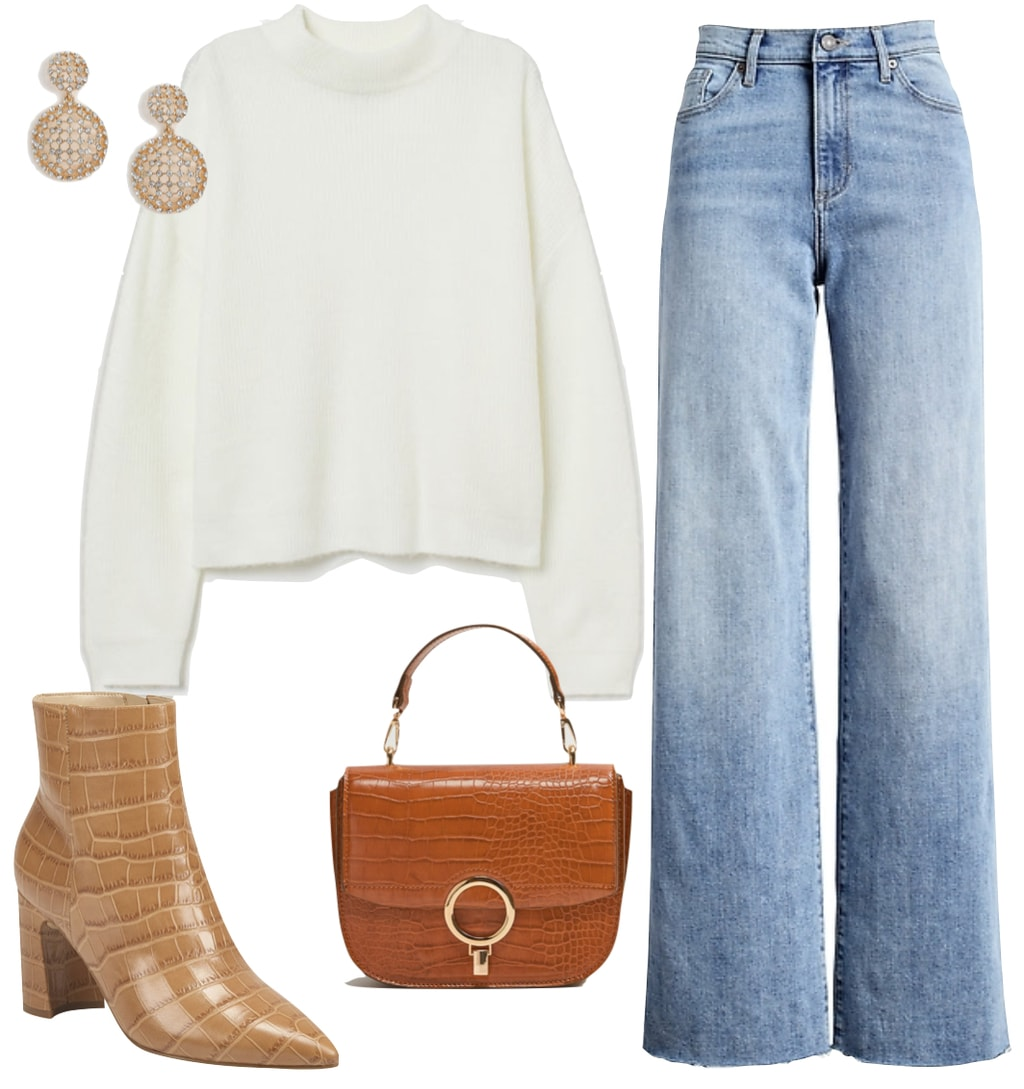 Selena Gomez Outfit #1: wide leg high rise jeans, off-white brushed mock neck sweater, brown crocodile embossed top-handle handbag, crystal drop earrings, and tan croc embossed ankle booties