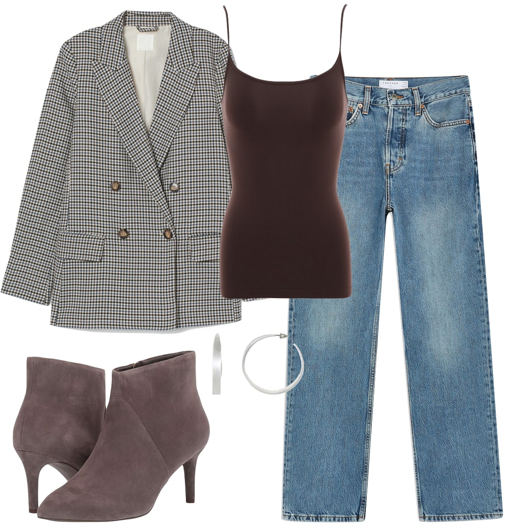 Selena Gomez Outfit #3: houndstooth blazer, brown cami top, wide straight leg jeans, taupe ankle booties, and wide silver hoop earrings